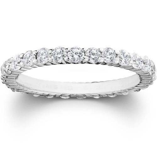 1ct Diamond Eternity Wedding Ring in 14k White, Yellow, Rose Gold, or Platinum
