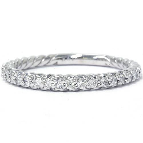 1/4ct Diamond Braided Wedding Ring 14K White Gold (G/H, I2)