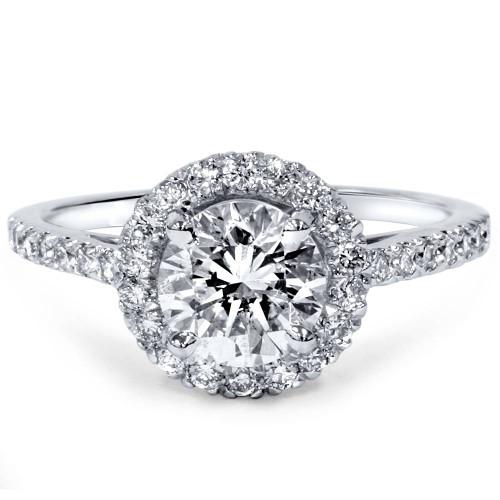 1 1/2ct Diamond Halo Engagement Ring 14K White Gold (H/I, I1-I2)