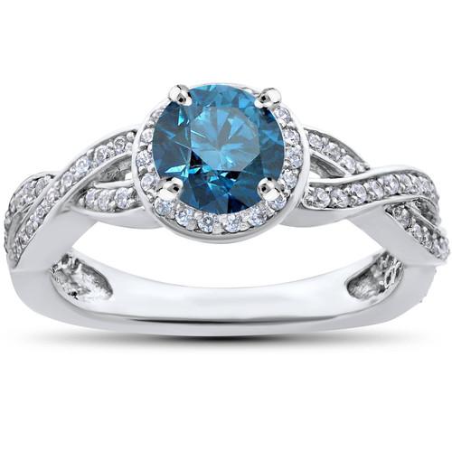 3/4ct Pave Halo Blue Diamond Engagement Ring 14K White Gold (G/H, I2)