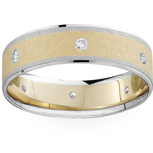 Mens 14k White and Yellow Gold Two Tone Wedding Ring (G/H, SI1-SI2)