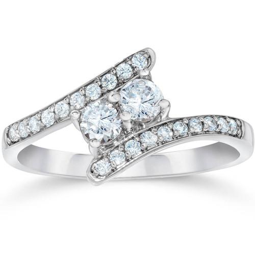 1/2CT Forever Us Diamond Two Stone Ring 10k White Gold (I-J, I2-I3)