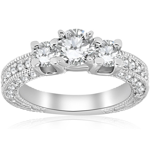 2ct Diamond Vintage 3 Stone Engagement Antique Ring 14K White Gold ((G-H), SI(1)-SI(2))