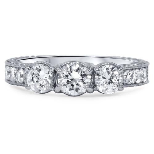 1 1/2ct Vintage Three Stone Round Diamond Engagement Ring 14K White Gold (H/SI2) (H, SI2)