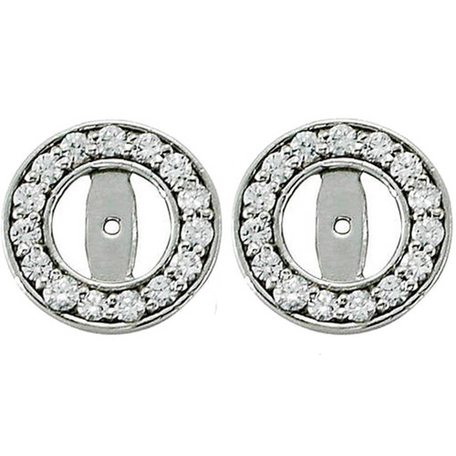 1/2ct Halo Round Diamond Studs Earring Jackets 14K White Gold (up to 4mm) (G-H, SI)