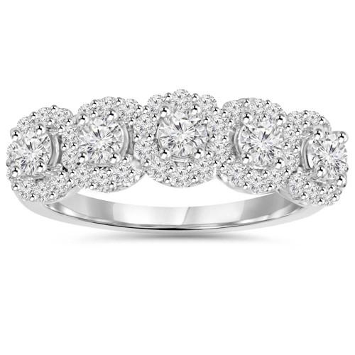 1 1/10 cttw Diamond Anniversary Wedding Ring 14K White Gold (H/I, I1-I2)