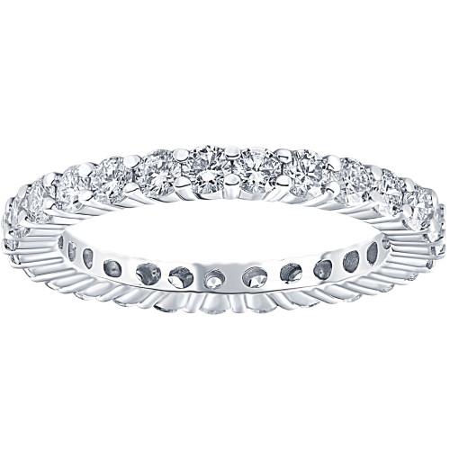 1 1/2ct 14k White Gold Round Diamond Womens Eternity Anniversary Stackable Wedding Ring (I-J, I1-I2)