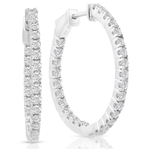 "1.50ct Diamond Inside Outside Hoops Vault Lock 1"" Tall 14k White Gold (G, VS)"