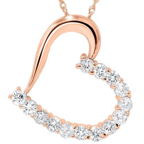 "1 1/20ct Diamond Heart Pendant 14K Rose Gold 1"" Tall (G/H, I1)"