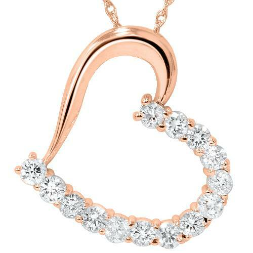 "1 1/20ct Diamond Heart Pendant 14K Rose Gold 1"" Tall (G/H, I1)"