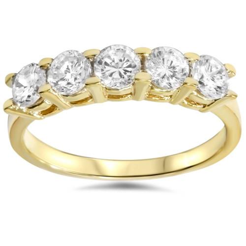 1 1/4ct Diamond Wedding 14k Yellow Gold Anniversary Ring 5-Stone High Polished (G/H, I1)