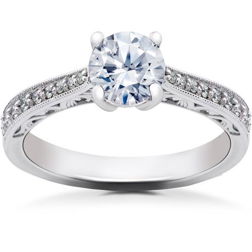 1 1/6 ct Lab Created Eco Friendly Diamond Vintage Engagement Ring 14k White Gold (F, VS)