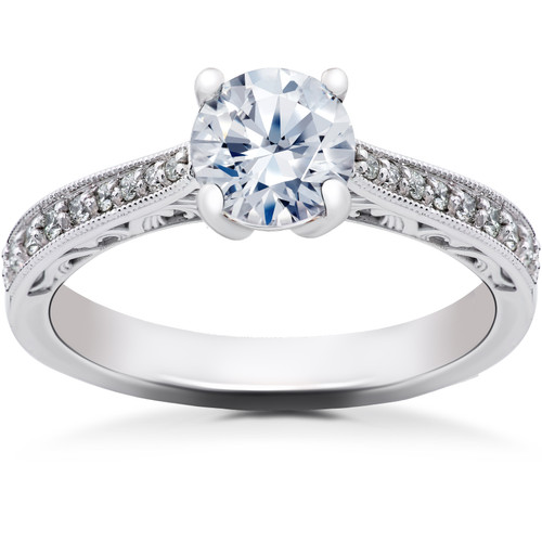 1 1/6 ct Lab Created Eco Friendly Diamond Vintage Engagement Ring 14k White Gold (F, VS)