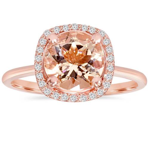 1 3/4 CT Morganite & Diamond Cushion Halo 14K Rose Gold Ring (H/I, I1)