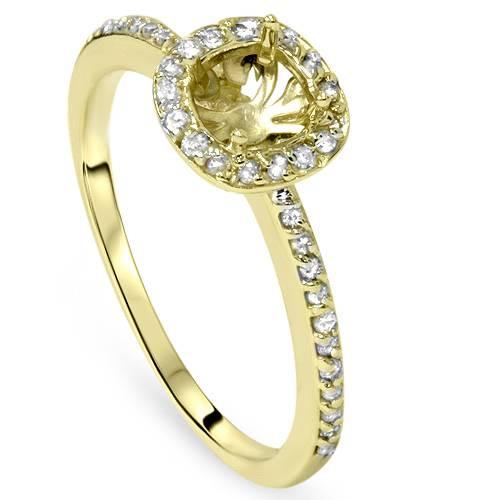 1/4ct Diamond Halo 14K Gold Engagement Ring Semi Mount (G/H, VS)