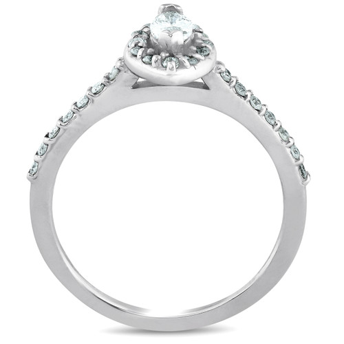 1/2ct Fancy Marquise Diamond Engagement 14K White Gold Ring (G/H, I2)