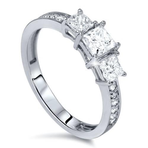 1 1/2ct Three Stone Princess Cut Diamond Engagement Ring 14K White Gold (H, SI2)