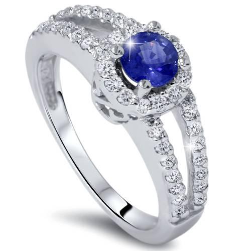 3/4ct Halo Split Shank Diamond Engagement Ring 14K White Gold (G/H, I1)