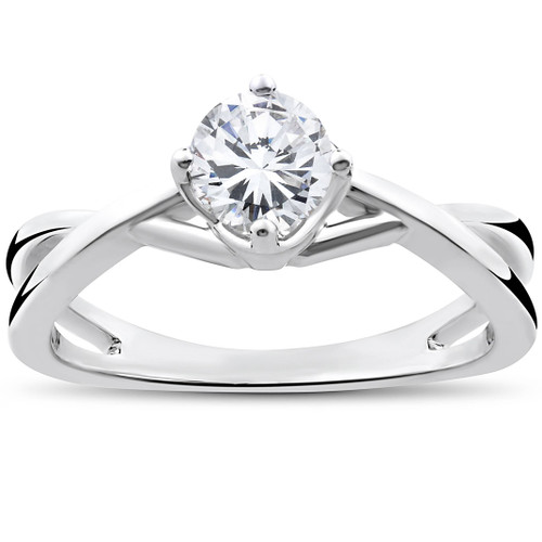 1/2 Ct Round Solitaire Diamond Vintage Engagement Ring 14K White Gold (H/I, I1-I2)