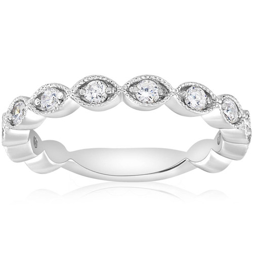3/8ct Vintage Diamond Stackable Wedding Ring Womens Stackable Band 14k Gold (H/I, I1-I2)
