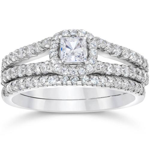1 Carat Princess Cut Diamond Halo Engagement Wedding Ring Set White Gold (H/I, I1-I2)
