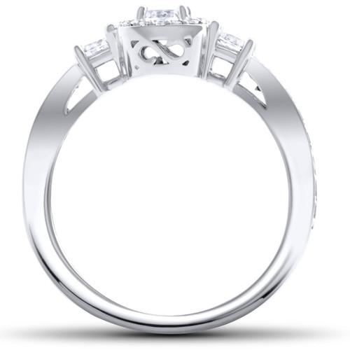 1 1/4ct Diamond Cushion Halo Ring 14K White Gold (G/H, I1-I2)