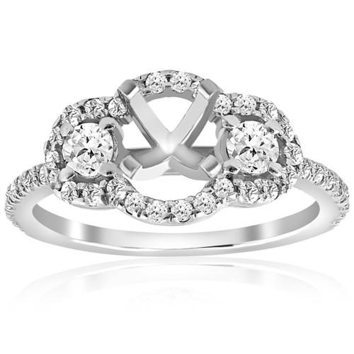 3/4ct 3 Stone Diamond Ring Setting 14K White Gold (G/H, I2)