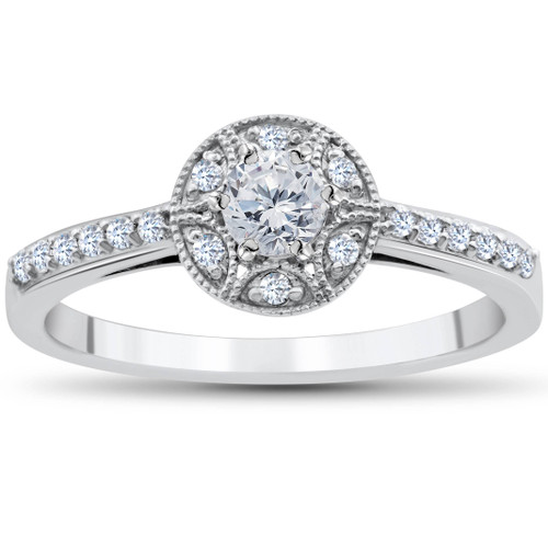 1/2CT Vintae Diamond Halo Engagement Ring 10K White Gold (H/I, I2-I3)