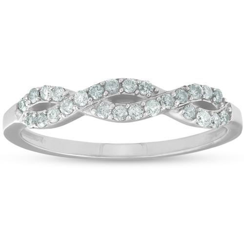 1/4ct Infinity Diamond Wedding Stackable Ring 14K White Gold (G/H, I2-I3)