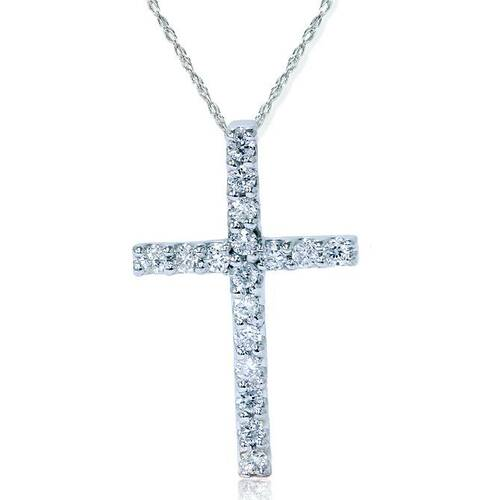 """1/6ct Diamond Cross Pendant 14K White Gold 1/2"""" (G/H, VS)"""