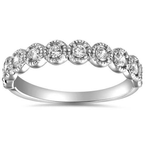 1/2ct Diamond Ring Vintage Beaded Womens Wedding Band Antique 14k WG (H/I, SI2-I1)