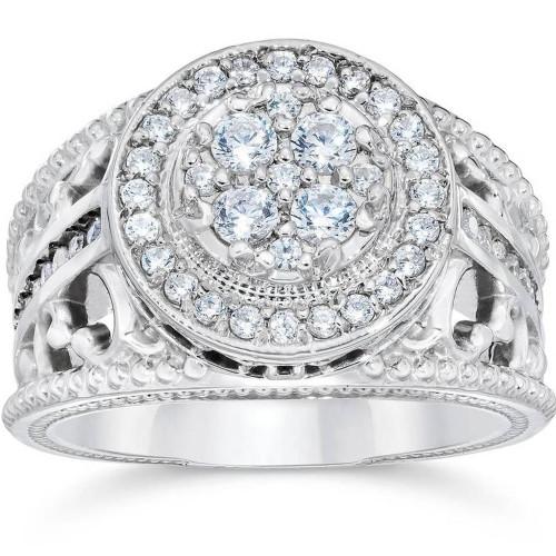 1 Carat Vintage Halo Diamond Pave Engagement Ring 10K White Gold (H/I, I1-I2)