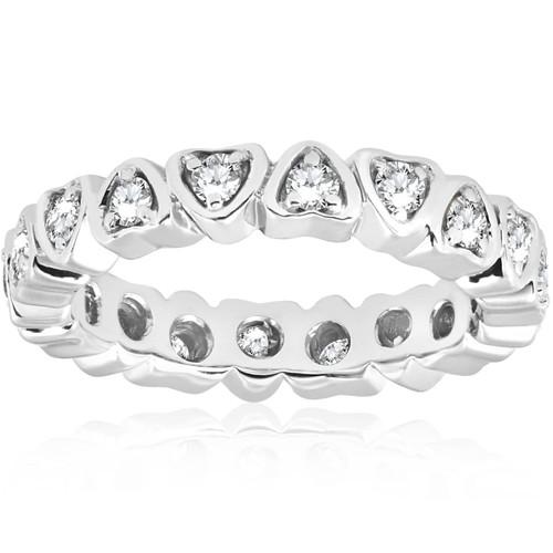 1/2ct Heart Shape Diamond Eternity Ring 14K White Gold (G/H, SI2-I1)