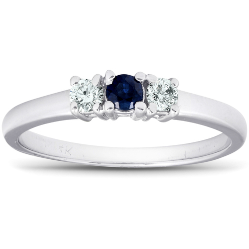 1/4ct 3 Stone Blue Sapphire Diamond Ring 14k White Gold (G/H, I1-I2)