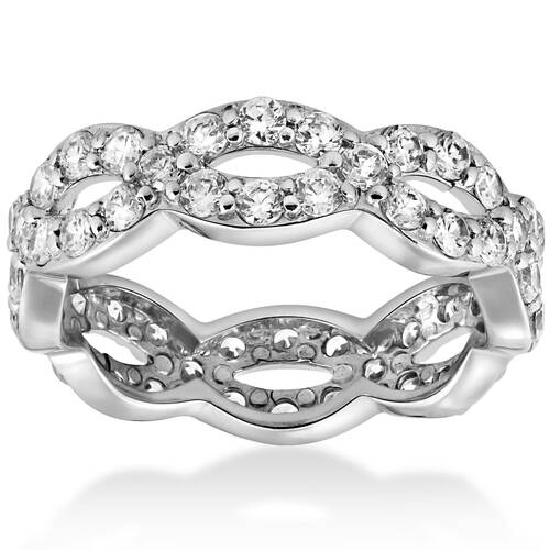 1 cttw Diamond Infinity Eternity Wedding Anniversary Ring 14K White Gold (G, I2)