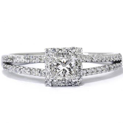 5/8ct Princess Cut Halo Split Shank Engagement Ring 14K White Gold (G/H, I1)