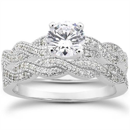 5/8ct Pave Diamond Infinity Engagement Wedding Ring Set Vintage White Gold 14k (G/H, I2)