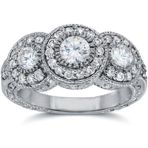 1 1/2ct Vintage Three Stone Diamond Engagement Ring 14K White Gold (G/H, I1)