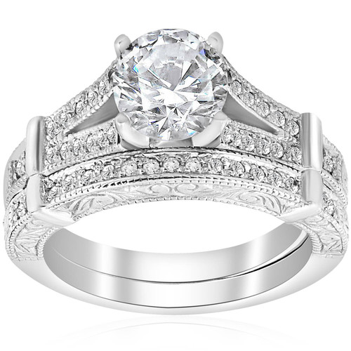 1 1/2ct Diamond Vintage Engagement Matching Wedding Ring Set 14k White Gold (H/I, I1-I2)