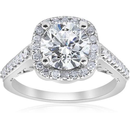 3 ct Diamond Cushion Halo Vintage Engagement Ring 14k White Gold Enhanced (I/J, I1-I2)