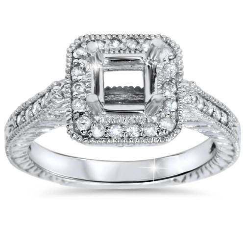 1/3ct Vintage Princess Cut Engagement Ring Setting 14K White Gold (G/H, I1-I2)