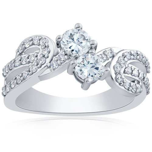 1 ct Diamond Forever Us 2-Stone Engagement Anniversary Solitaire Ring White Gold (H-I, I1)