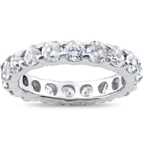 4ct Diamond Eternity Round Solitaire Wedding Ring 14K White Gold ((G-H), (SI2))