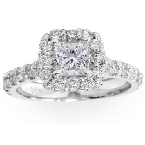 Princess Cut Diamond Engagement Ring 1 1/10 Ct Halo Band 14k White Gold (G/H, I1)