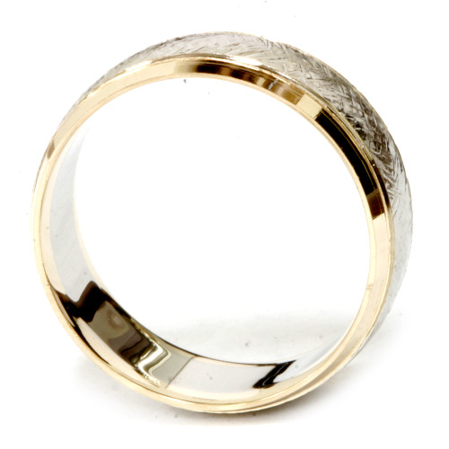 Mens 14k White & Yellow Gold 8mm Two Tone Wedding Band