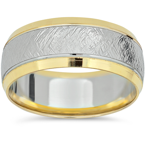 Mens 14k White Yellow Gold 8mm Two Tone Wedding Band