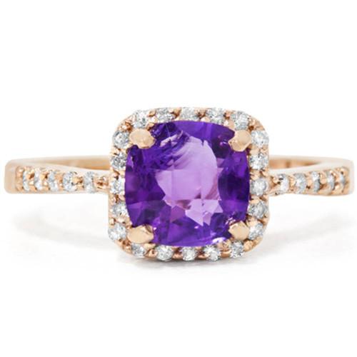 1 1/2ct Cushion Amethyst Diamond Ring 14K Rose Gold (G, SI1)