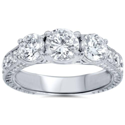 2ct Vintage Three Stone Round Diamond Engagement Ring 14K White Gold (H, I3)
