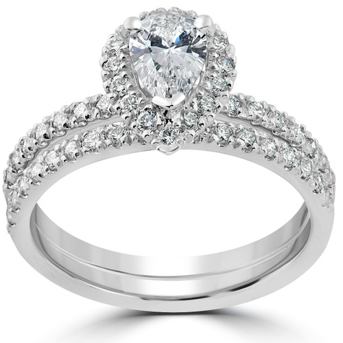 1 1/10ct Pear Shape Halo Diamond Engagement Wedding Ring Set 14k White Gold ((G-H), SI(2)-I(1))