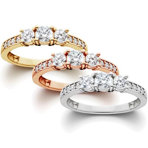 1 ct 3-Stone Diamond Engagement Ring in 14k White, Yellow, Rose Gold (G-H, I1-I2)